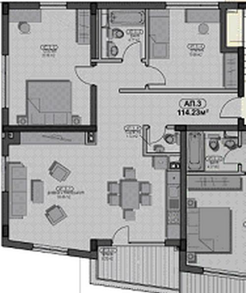 продава нов тристаен апартамент в София, кв.Младост 2